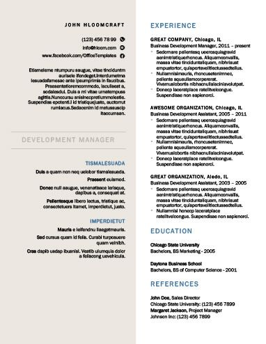 Creative Formal Resume Template CV_Portefólio Pinterest - formal resume