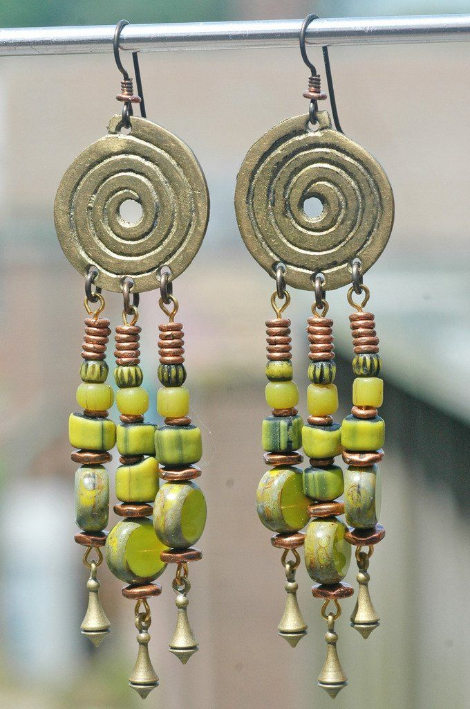 Exotic Lime Green Glass, Copper and Brass Swirl Dangle Earrings
