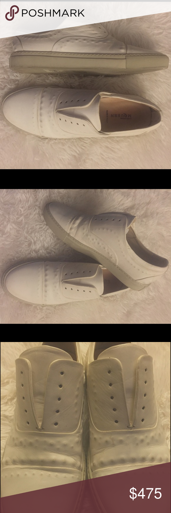 Alexander McQueen White Leather Slip On Sneakers How dope are these Alexander McQueen white leather Sneakers?! So versatile. Perfect for brunch, a spring/summer day party, a yacht party, Vegas, Miami, you name it! Size 10. 100 percent AUTHENTIC. Has some areas of wear in ostrich leather(from rubbing... See photos) Can be easily cleaned at shoe shop! Selling for my boss(I'm a part time Beverly Hills nanny😝)Trying to get him to join Posh😂. Please feel free to ask questions and send offers…