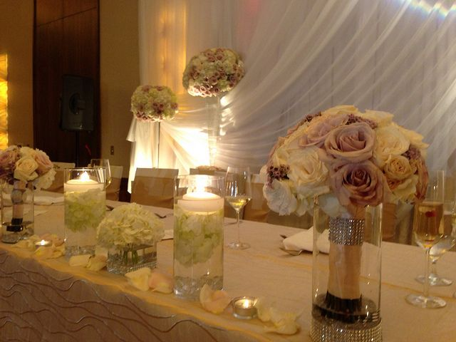Bridal Bouquet At Head Table Love The Idea Of Having Vases For All