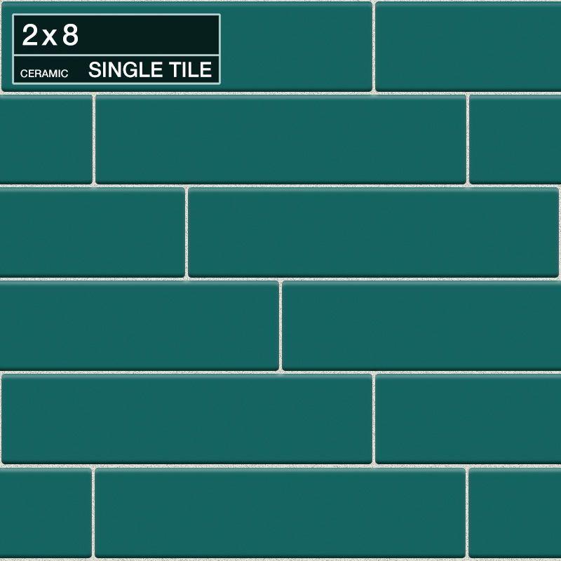 "Daltile QH62-281P Natural Hues Peacock 8"" x 2"" Flat Ceramic Multi-Surface Tile ( Peacock Tile Multi-Surface Tile Field Tile"