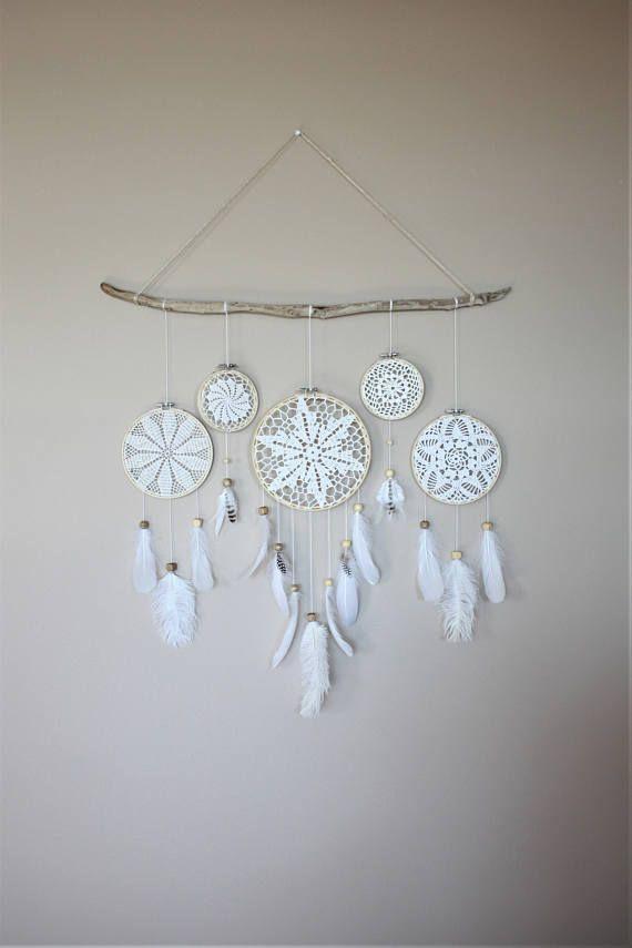 White Dream Catcher Wall Hanging Driftwood Feather Dream Catcher