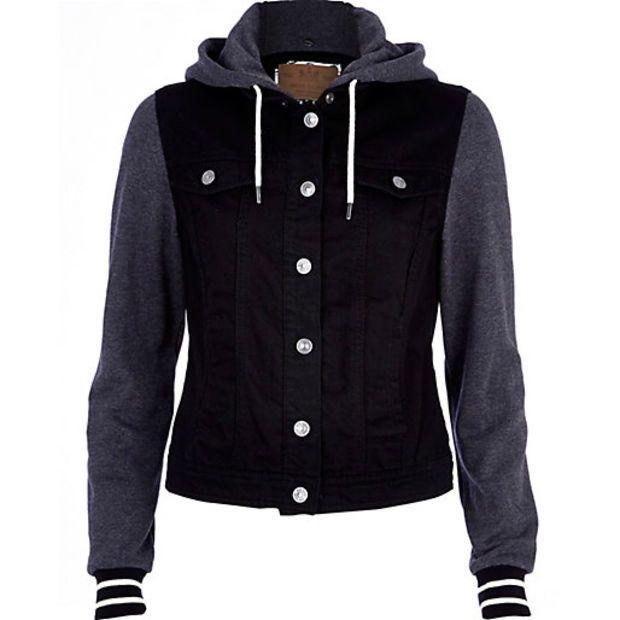 Black Contrast Jersey Sleeve Denim Jacket Denim Jackets Coats Jackets Women Denim Jacket Denim Coat Jacket Hooded Jean Jackets