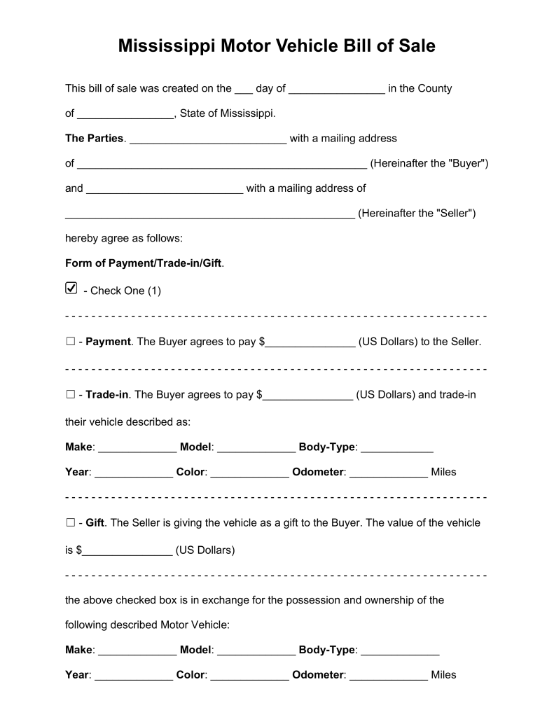 Free Mississippi Bill Of Sale Forms  Pdf  Word  Eforms  Free