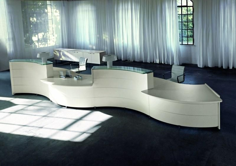 white curved reception desk - Google Search