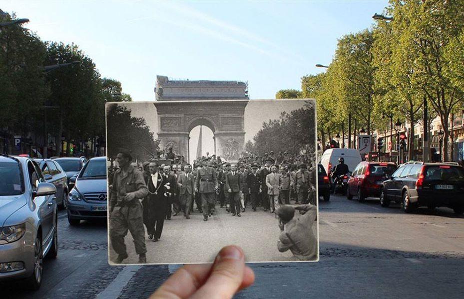Des photos de Paris des années 1940 superposées avec la réalité