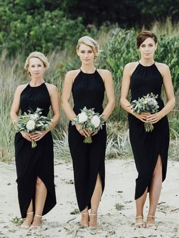 Simple Black Side Short Bridesmaid Dresses Unique Sequin Long Gown Bd125