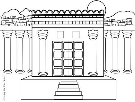 Solomons temple coloring page o34 salomo pinterest for Building the temple coloring pages