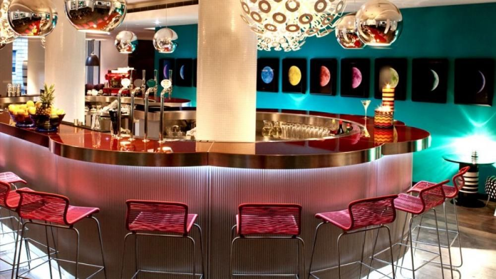 Bar Hotel Design With Modern Chandeliers With Purple Color Themes Most  Beautiful Hotel Interior With Colorful