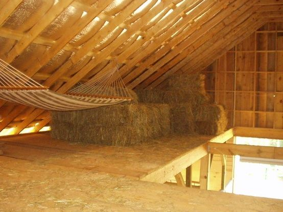 Hammock in the hay loft barns stables and hay lofts for Hay pole barns