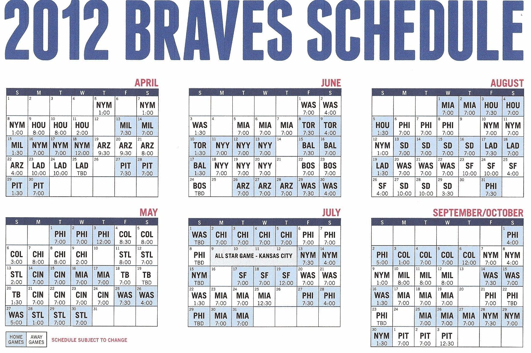 2012 Atlanta Braves Schedule Printer Friendly Atlanta Braves Braves Atlanta Braves Baseball