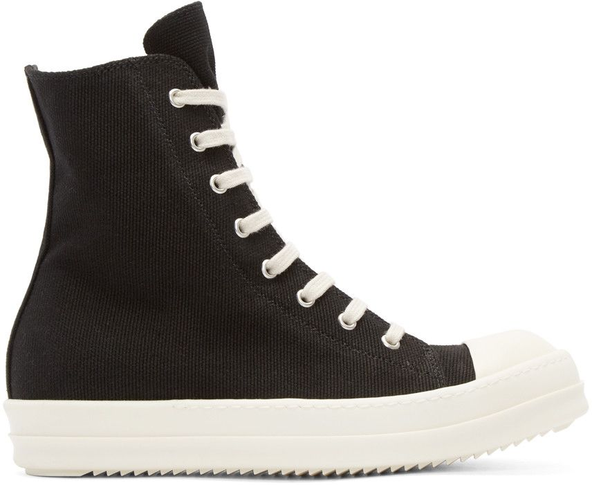 bfbc63f2cd3f High-top canvas sneakers in black. Brushed leather round cap toe in  off-white. Lace-up closure in beige. Bellows tongue. Eyelet vents at inner  side.