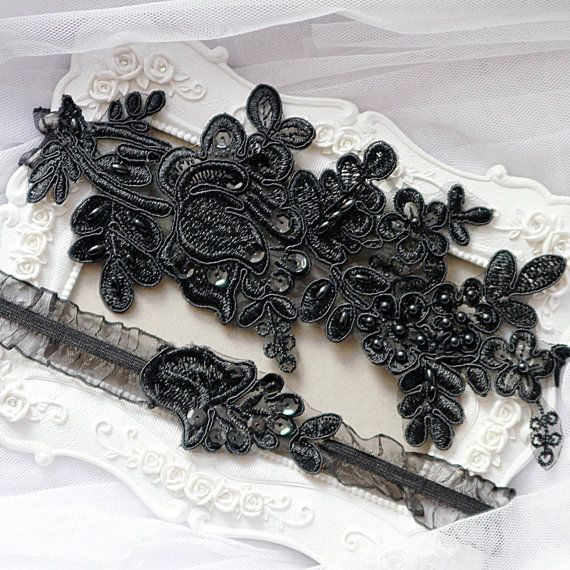 Wedding Garter Set Bridal Black Belt