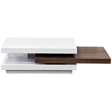Nexus Modern 2-Tone Java Pull-Shelf White Cocktail Table