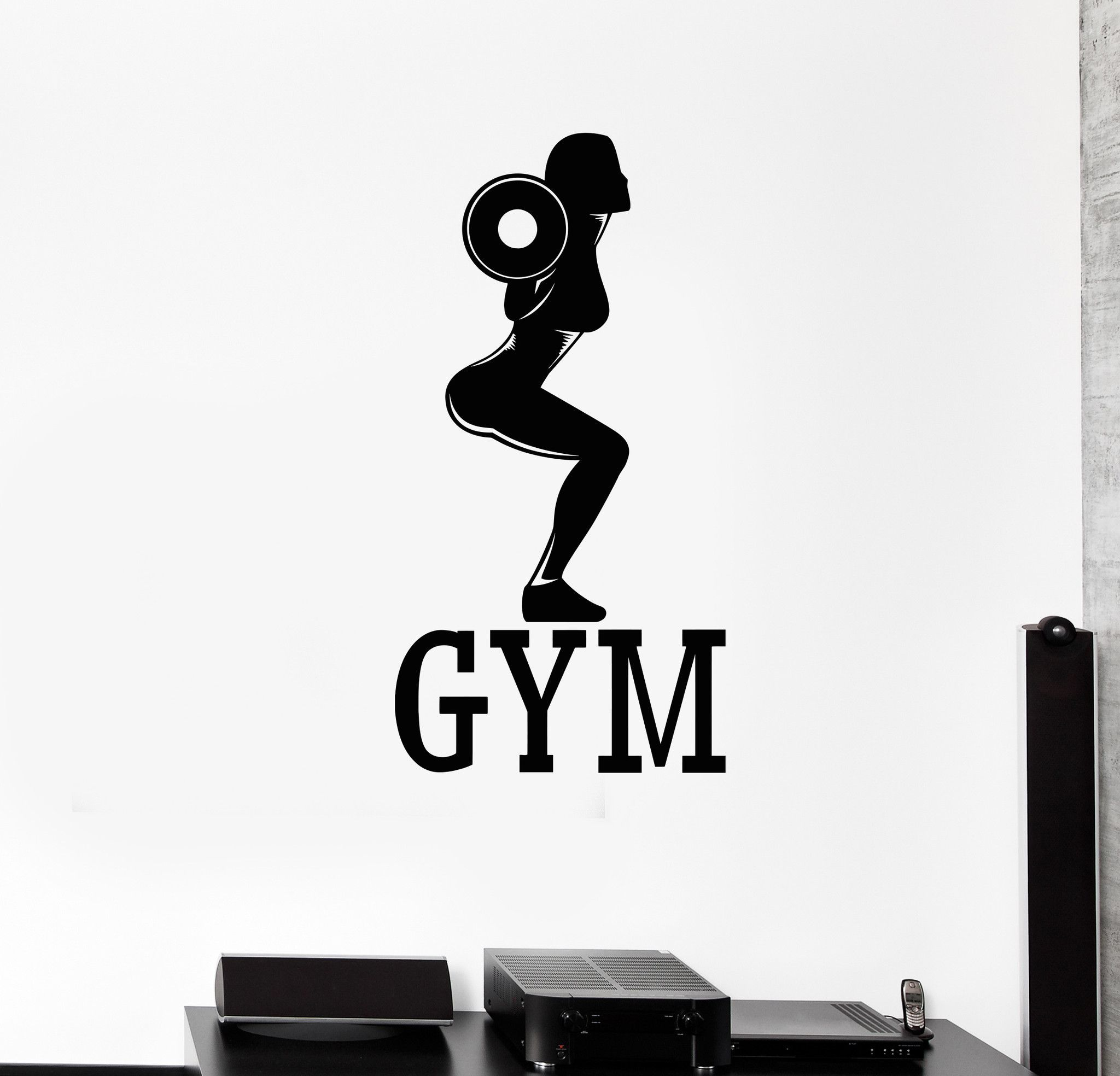Vinyl wall decal gym fitness woman bodybuilding sports