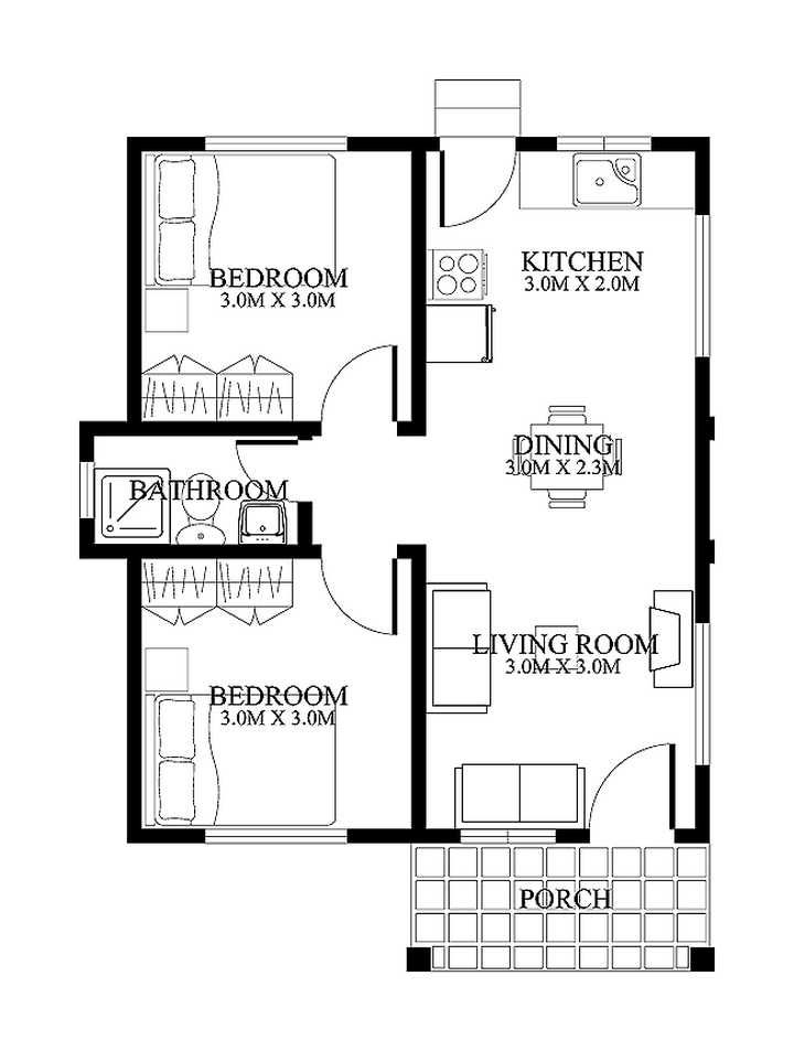 I Like This On, But I Would Swap Living Room And Kitchen, I.e Kitchen To  The Front, And Living Room At Back. Small Home Designs Floor Plans