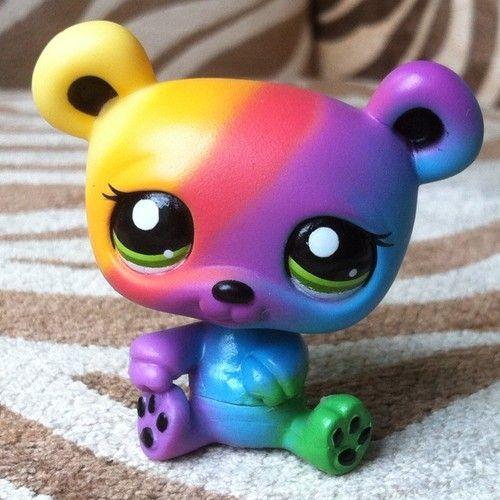 Littlest Pet Shop Lps Rainbow Bear With Green Eyes Super Rare 2584 Ebay Lps Pets Little Pet Shop Toys Little Pet Shop
