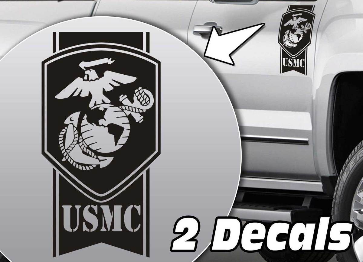 Product Military Army USMC Globe Stripes Truck Bed Side Decal - Chevy decals for trucksmore decalchevrolet silverado rally edition unveiled