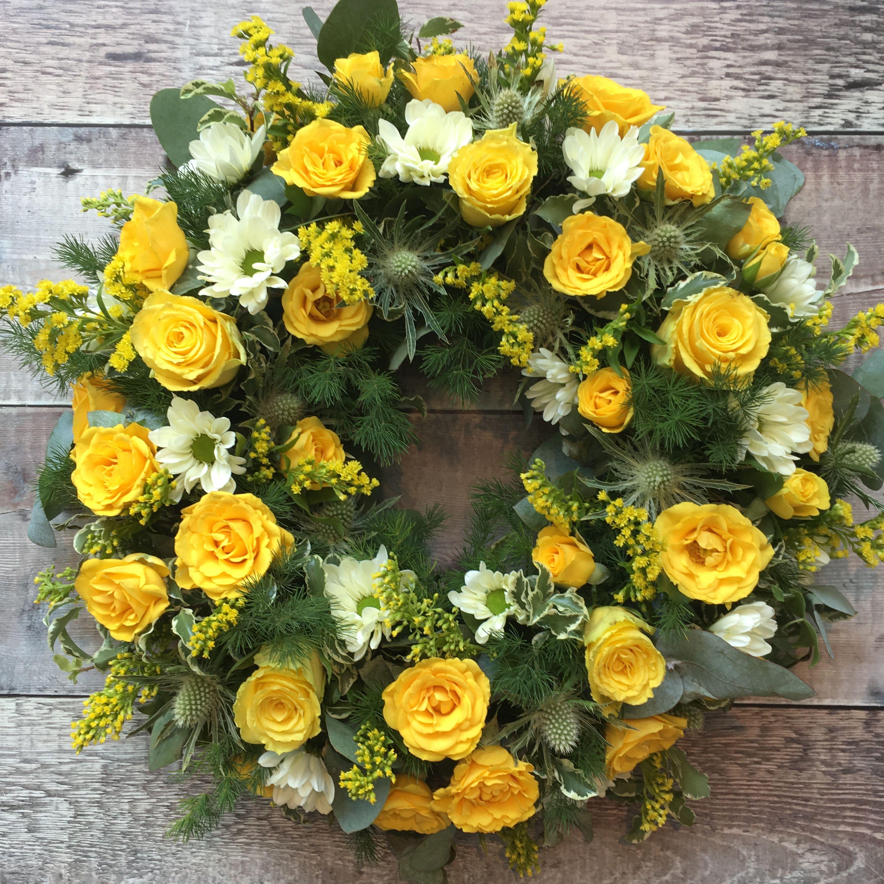 Sunshine yellow rose wreath roses funeralflowers wreaths