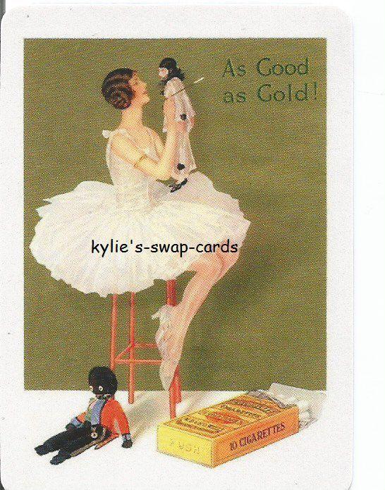 Y27 CIGARETTE ADVERT swap playing cards MINT COND Art Deco lady & golliwog doll