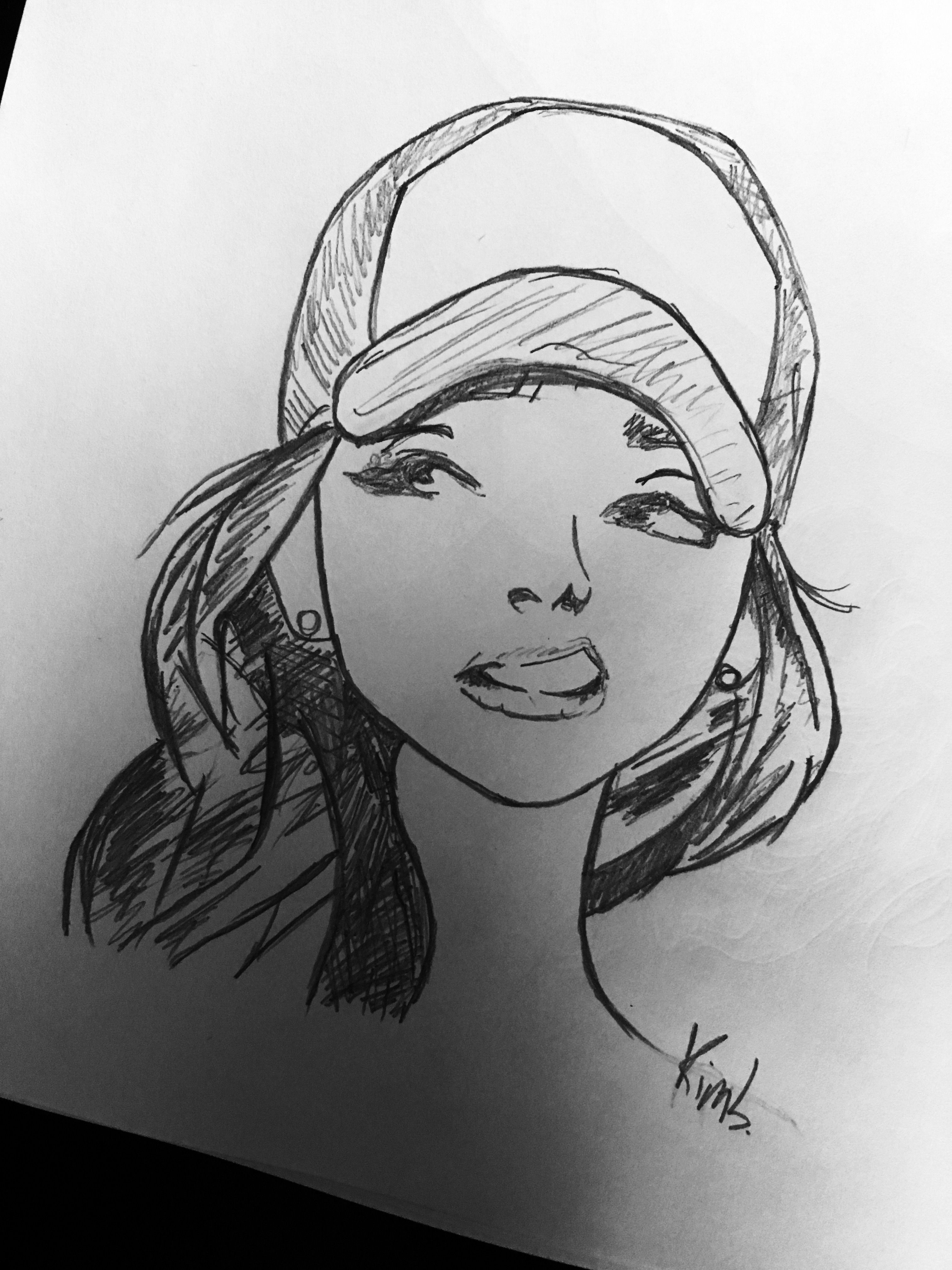 sketch girl swag art mood snapback cap in 2019