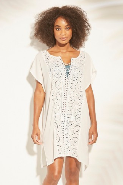9edd523453 Women's Lace-Up Eyelet Cover Up Dress - Kona Sol™. White beach dress it´s a  perfect option for Spring Break 2019. Short beach pool dress for summer, ...