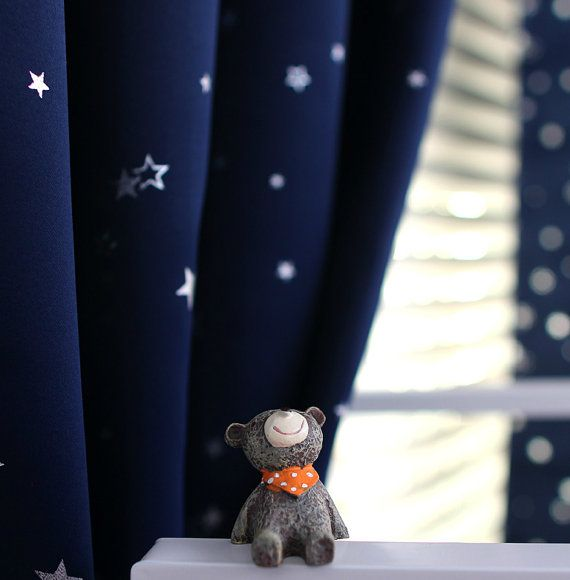 7 Colors A Pair Of Silver Star Print Light Blocking Curtains Baby Nursery Curtain