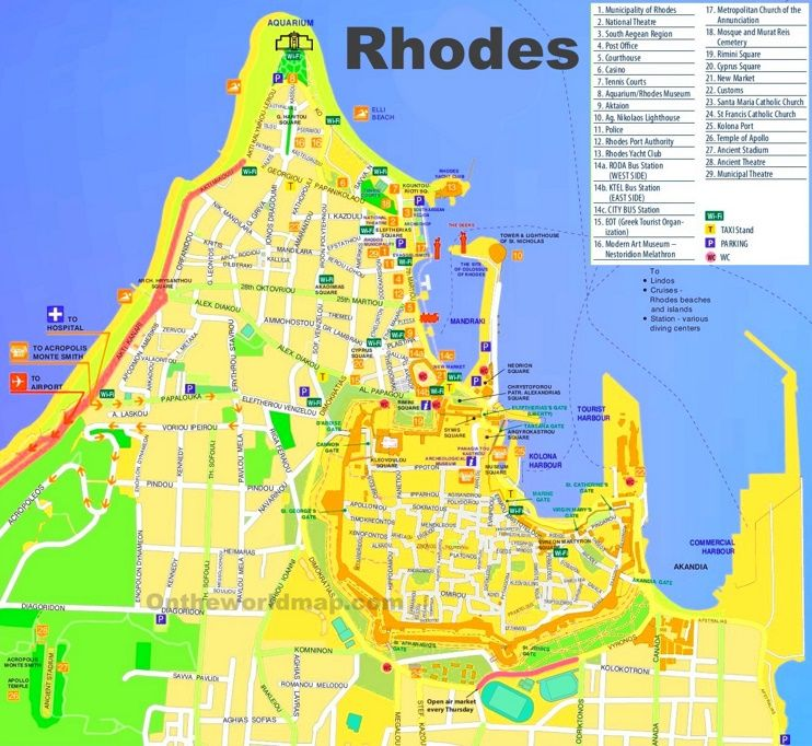 Rhodes City tourist map | Maps in 2019 | Tourist map, Map ...