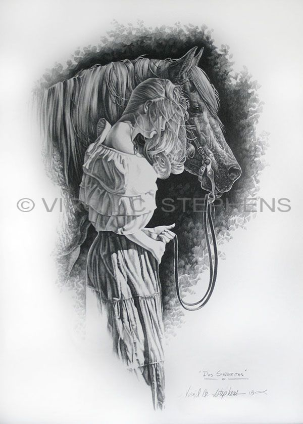 Romantic pencil art a romantic drawing of a woman and her horse by virgil c
