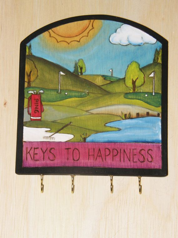 Golf/ Fathers Day Gift/ Key Holder/Custom order/  by woodwithheart, $45.00