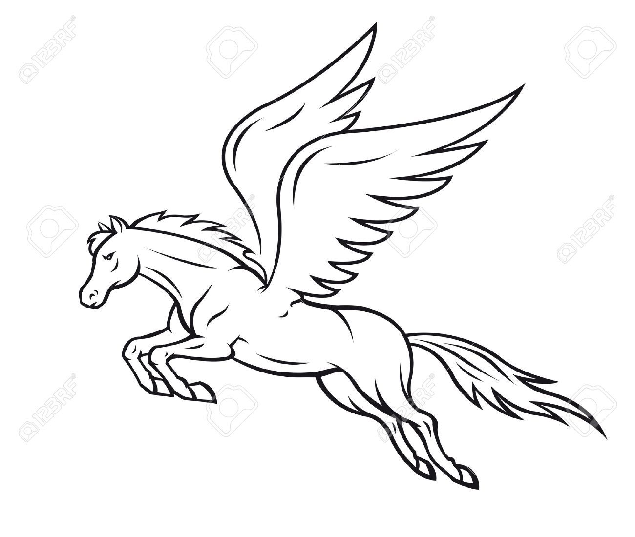 18d28268afa6 Vector - White pegasus horse with wings. Vector illustration