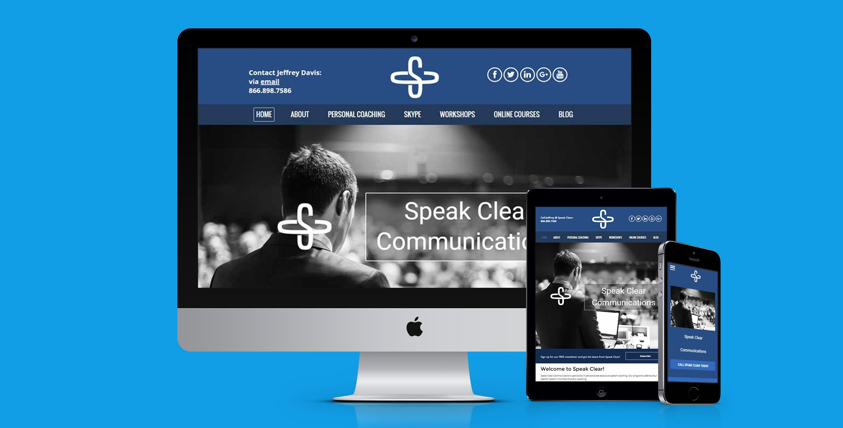 Responsive Web Design By Webact For Speak Clear Communications In New York New York Responsive Website Design Web Design Web Design Projects