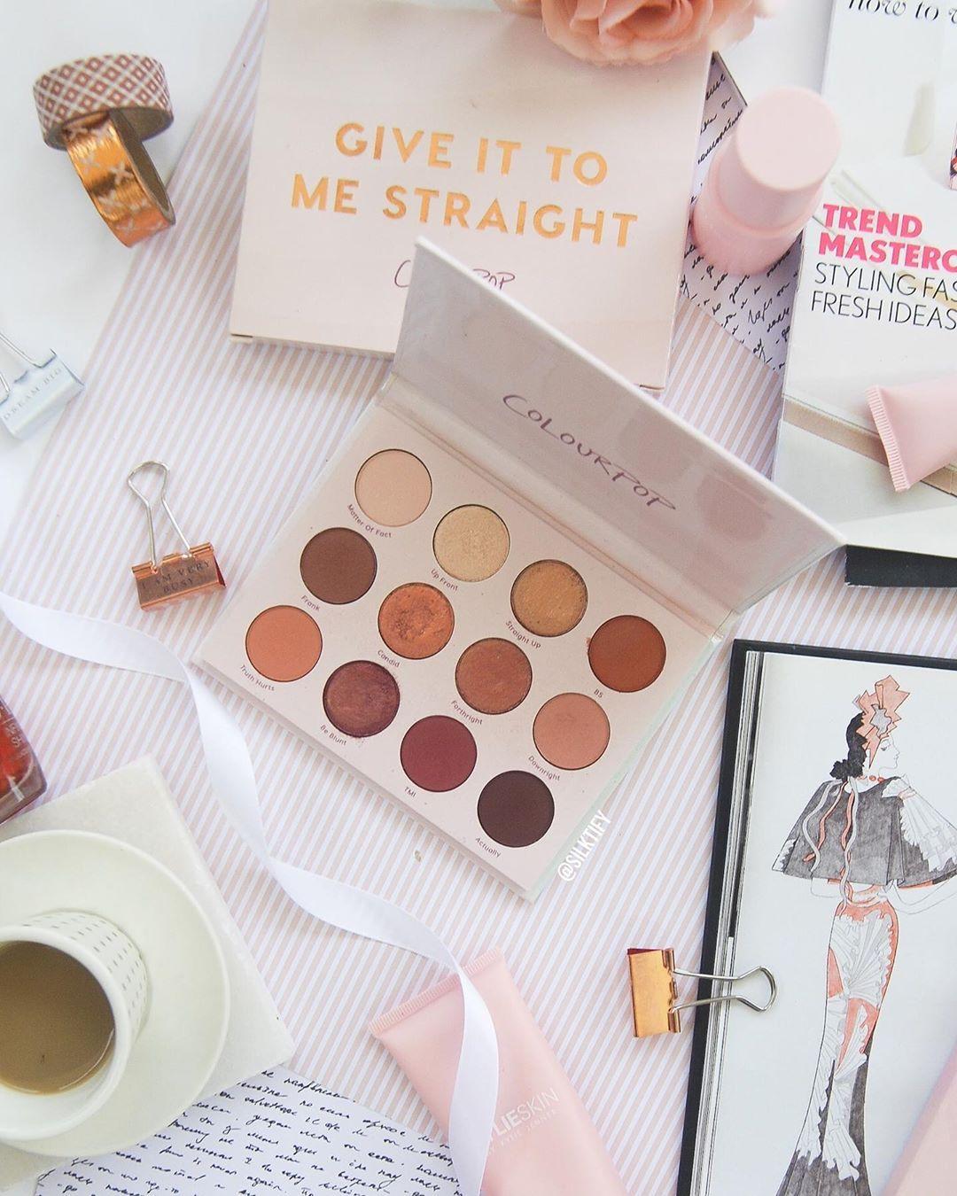 Colourpop eyeshadow palette pastel pink flatlay