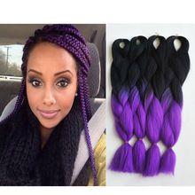 24 Inch Purple Braiding Hair 3pcs 5pcs Synthetic Kanekalon Jumbo Braid For Black Woman 100g Ombre China Mainland
