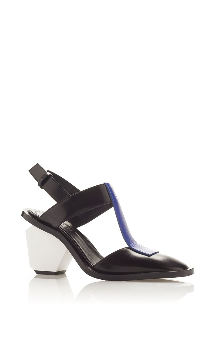 Blue T Bar Sling Back Sandal with White Block Heel by MARNI Now Available  on Moda Operandi