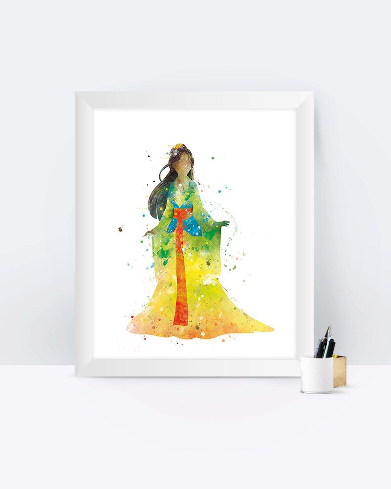 Mulan Watercolor Art Print Princess Prints Painting Poster Home