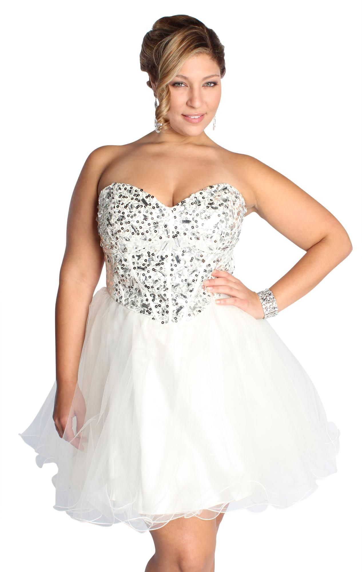 Plus size sweetheart corset style sequin homecoming dress dress