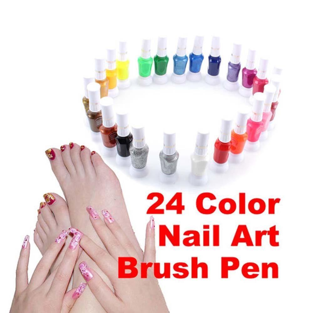 Professional Women Nail Polish Nail Art Makeup 24 Colors False Nail Art Brush Pen Varnish Polish Nail Polish Set FB
