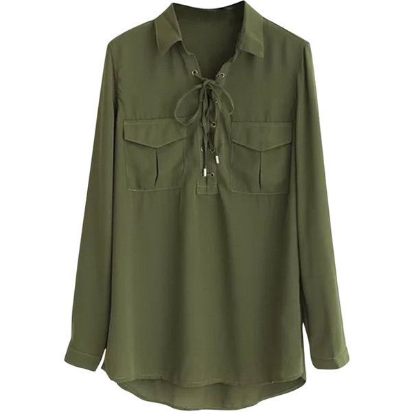 Womens Plain Lace Up Front Long Sleeve Pockets Blouse Army Green ...