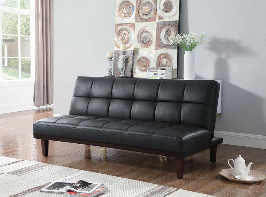 360047 Black Leatherette Futon Sofa Bed With Chestnut Legs Tufted Design Sofa Bed Futon Sofa Sofa