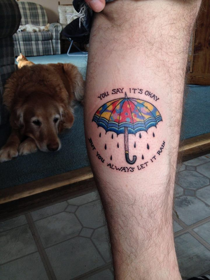 Umbrella Tattoo With Lyrics From The Song Enemy By Balance And Composure The Colors Are Inspired By Their Alb With Images Umbrella Tattoo Tattoos Inspirational Tattoos