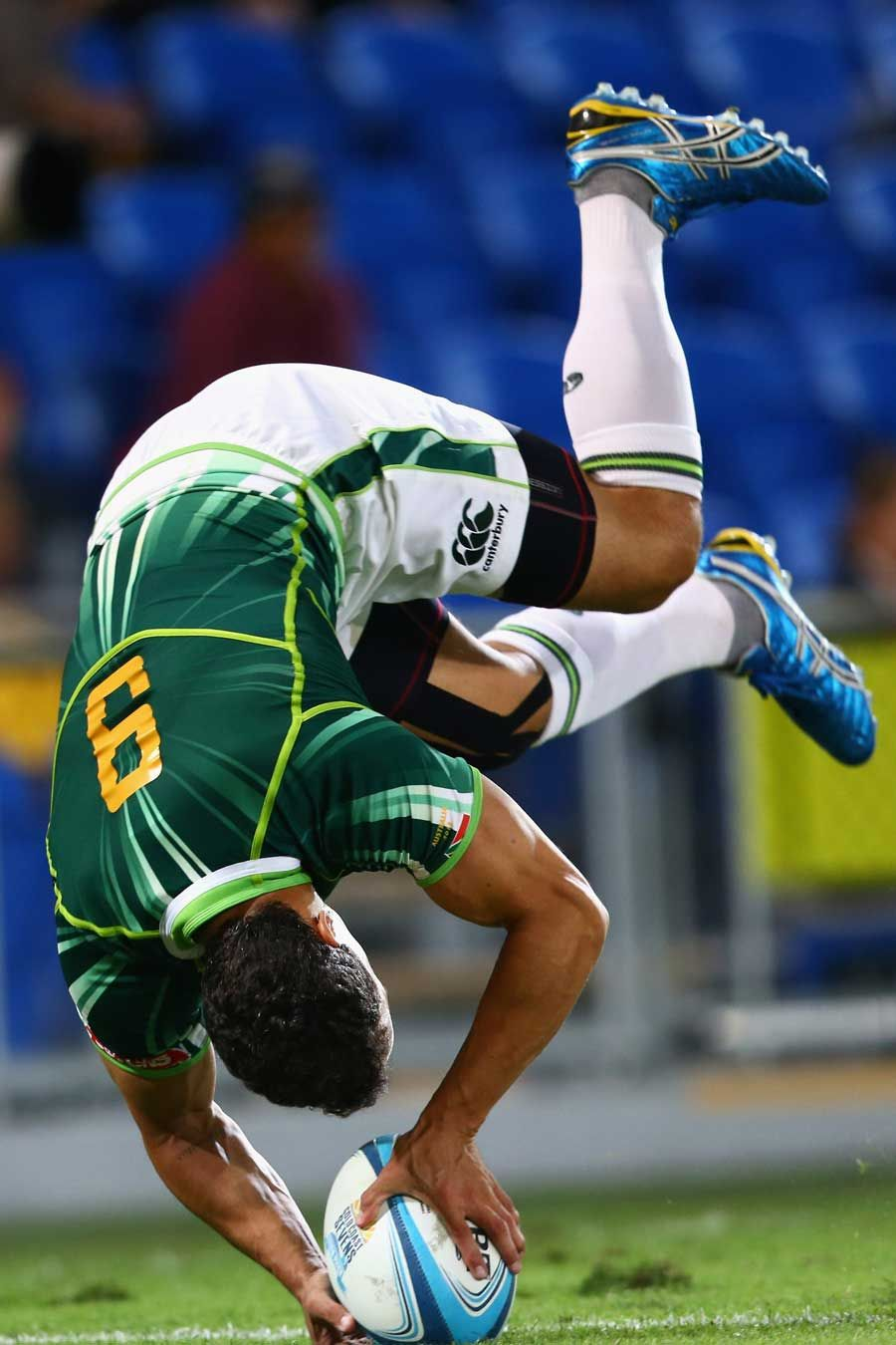 South Africa's Paul Delport goes airborne to score against