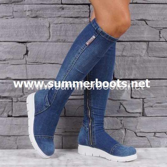 Джинсовые ботфорты на замке Джинсовые ботфорты летние сапоги сделаны из  натуральной хлопковой джинсы. Очень популярны f1cfe790de4