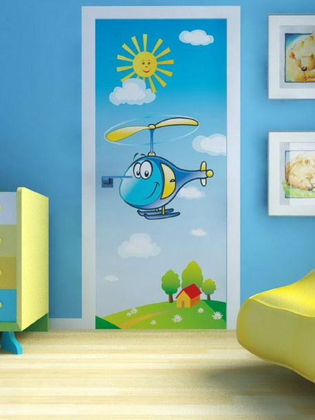 Attractive and Colorful Helicopter Wall Murals in Kids Bedroom Design Ideas Perfect Wall Murals Designs for your Kids Bedroom Decoration
