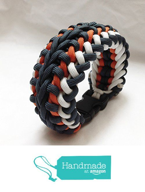 Wide Paracord Survival Bracelet Navy Blue Orange Gift For