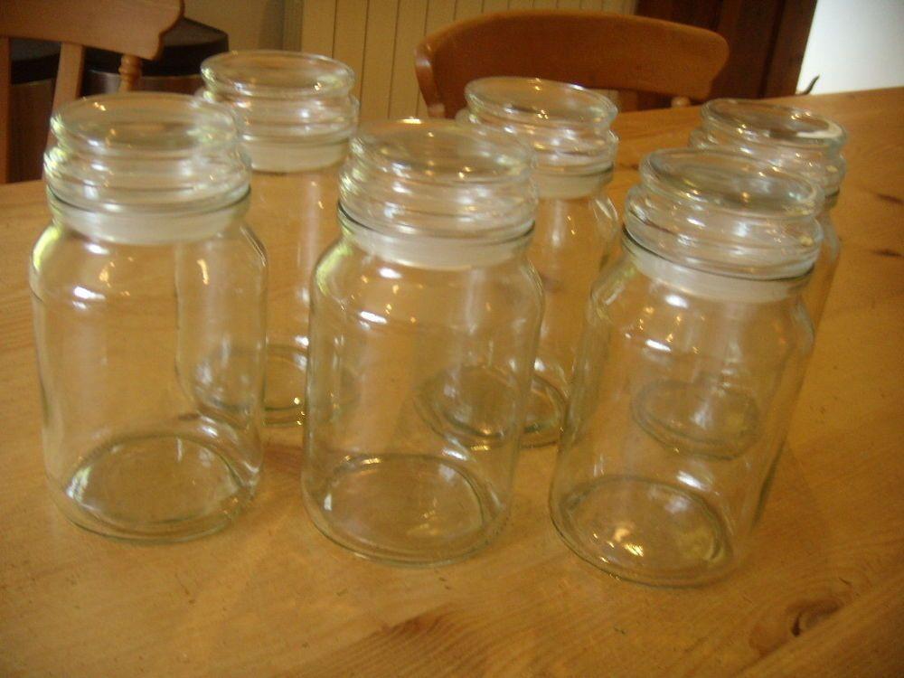 6 X Douwe Egberts Empty Glass Large Coffee Jars 190g Size