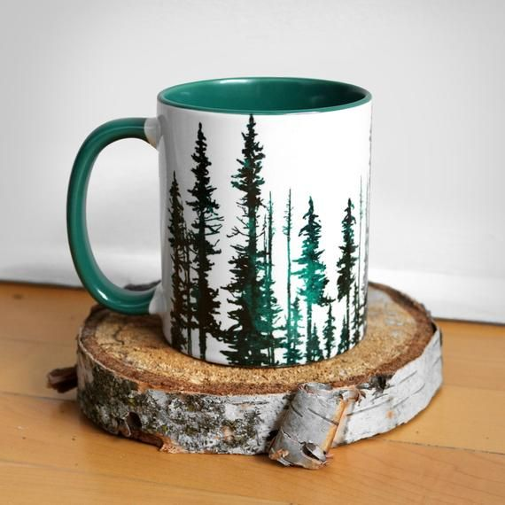 Hunter Green Evergreen Trees with Green Rim Mug #mugart