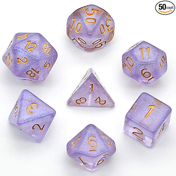 Amazon Com Udixi Polyhedral Dnd Dice Sets Iridecent Transparent Discolored Dice For Dungeons And Dragons Pathfinder Rpg Mtg Table Gaming Dice Purple Tarningar