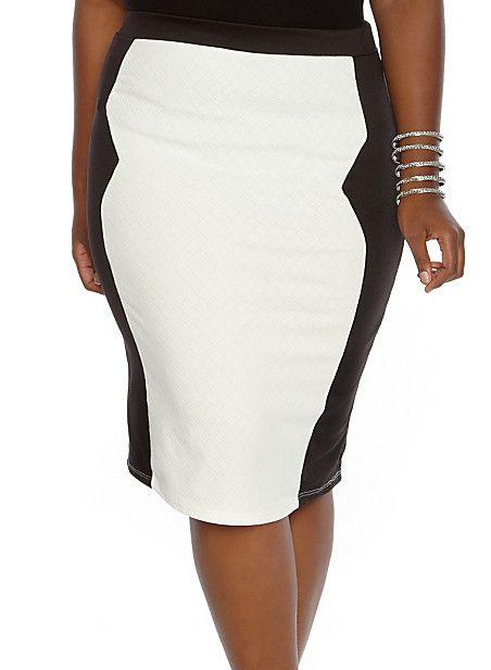 Plus-Size Two-Toned Pencil Skirt,IVORY/BLK