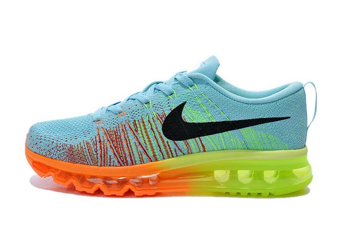 cheap for discount 57254 03e14 Women s Nike Flyknit Air Max 2014 Rainbow SkyBlue Black Orange Green Pic - 1